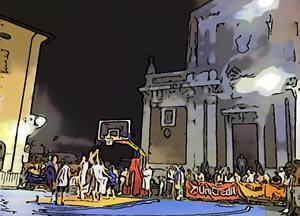 Noleggio campo basket in piazza